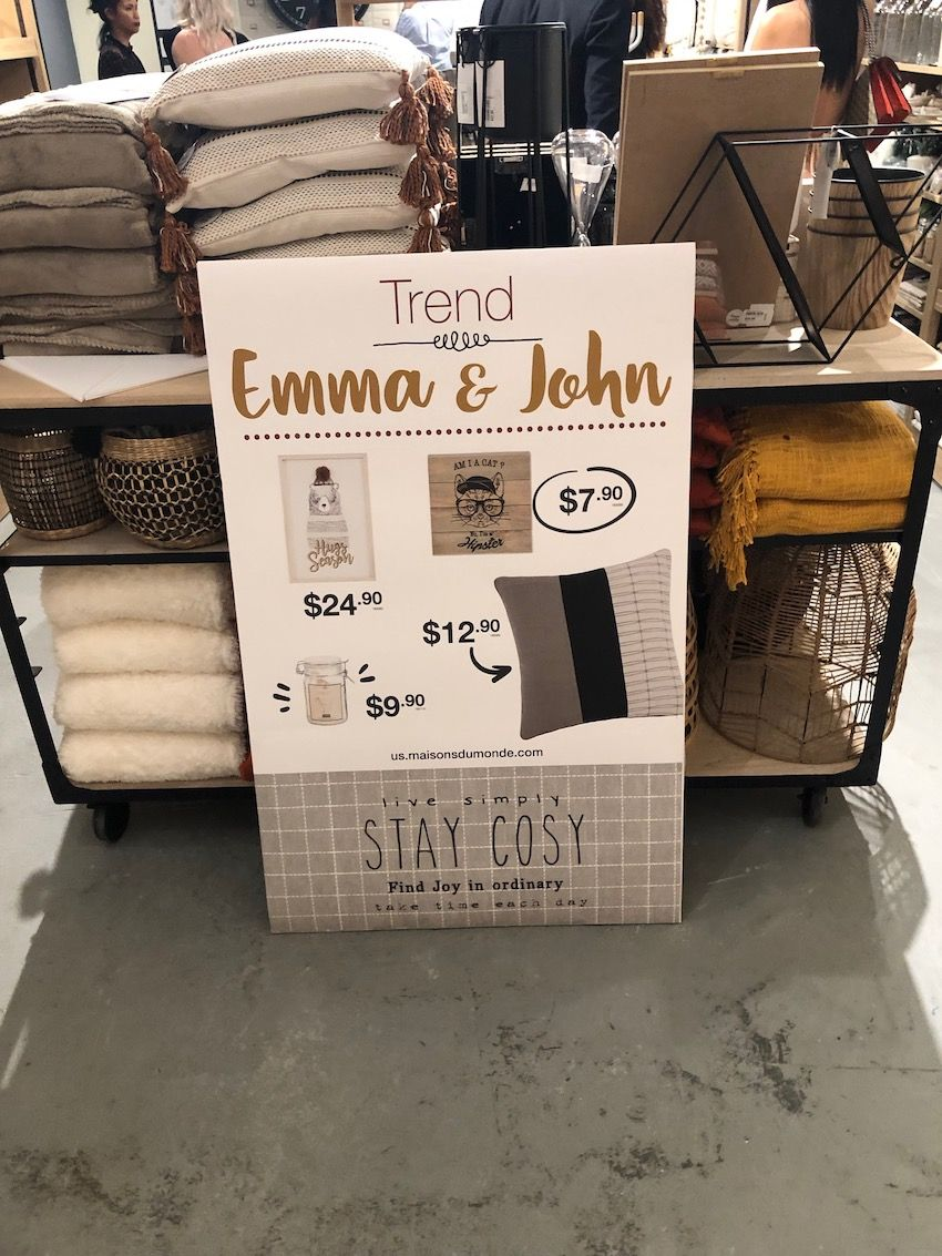 Earthy neutrals and mustard yellow characterize the Emma & John collection.