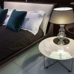 Modern bed frame and glass table lamp base