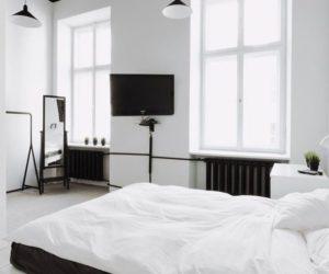 Modern white bedroom platform
