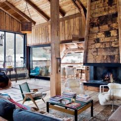 Alpine cabin with a unique living room decor