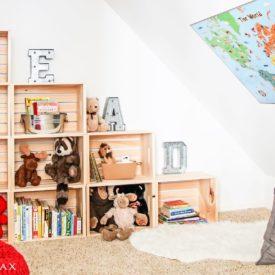 Attic room crates bookshelf