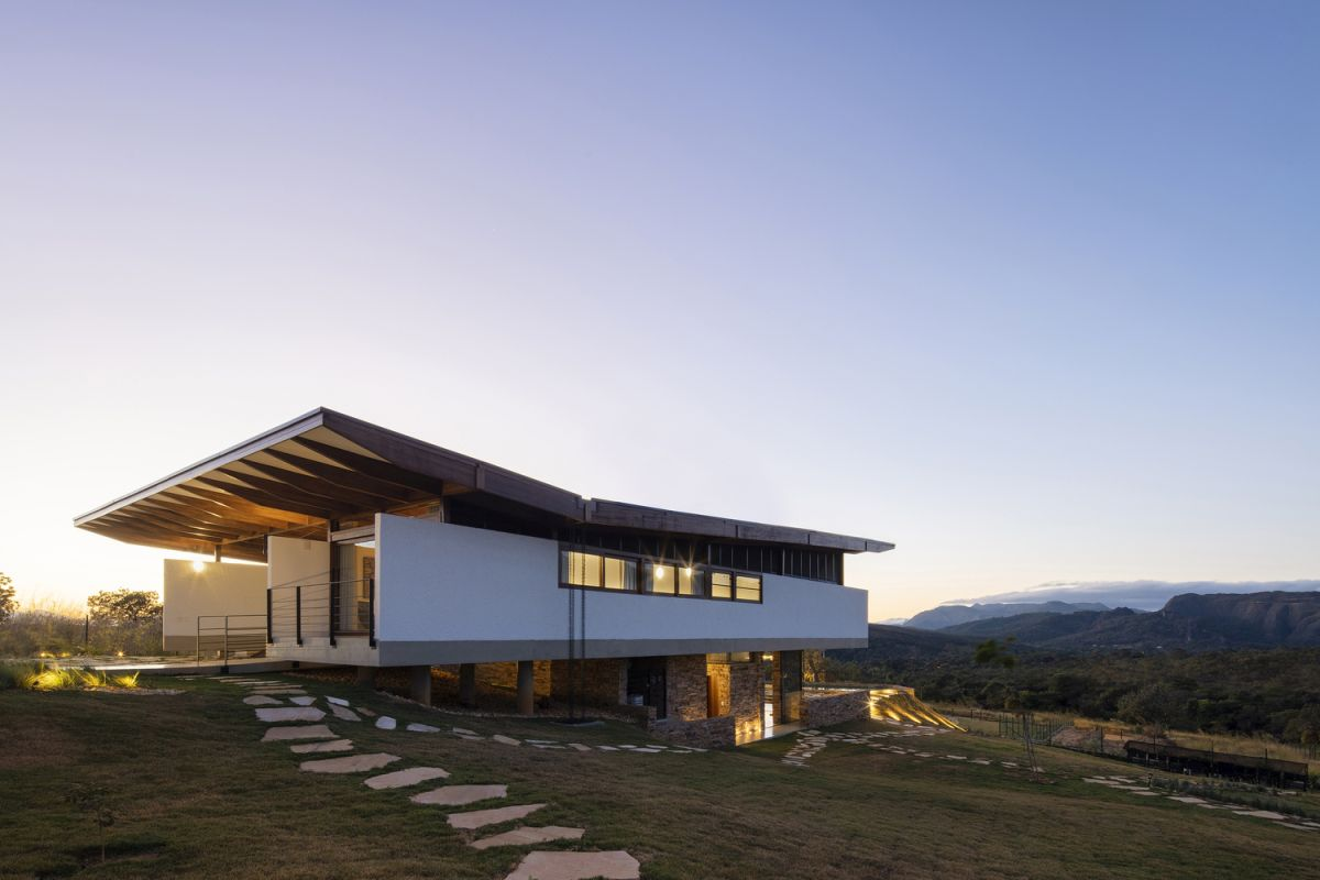 The gentle slope makes it seem like the house is an actual part of the landscape