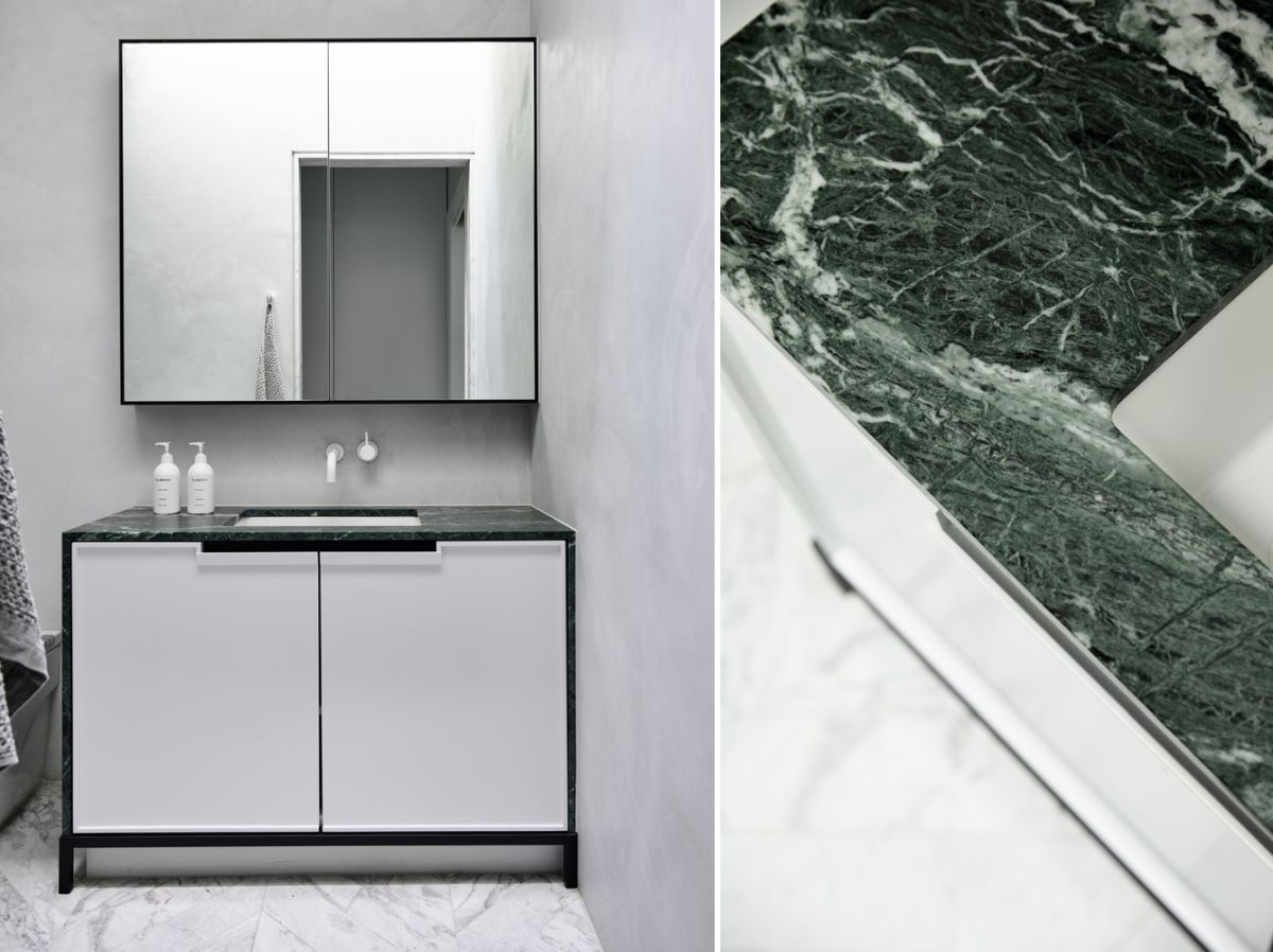Marble surfaces add elegance to spaces such as the kitchen and the bathrooms