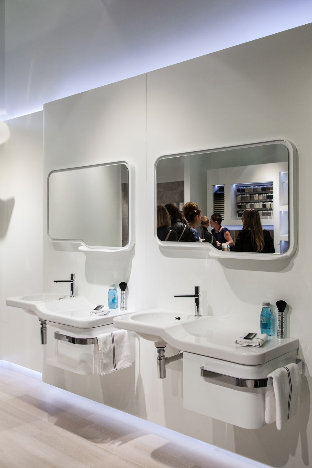 Two smaller vanities are an option instead of a large one with two basins.