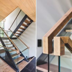 Glass stair balustrade with handrail