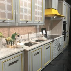 Gray with accents of yellow kitchen decor