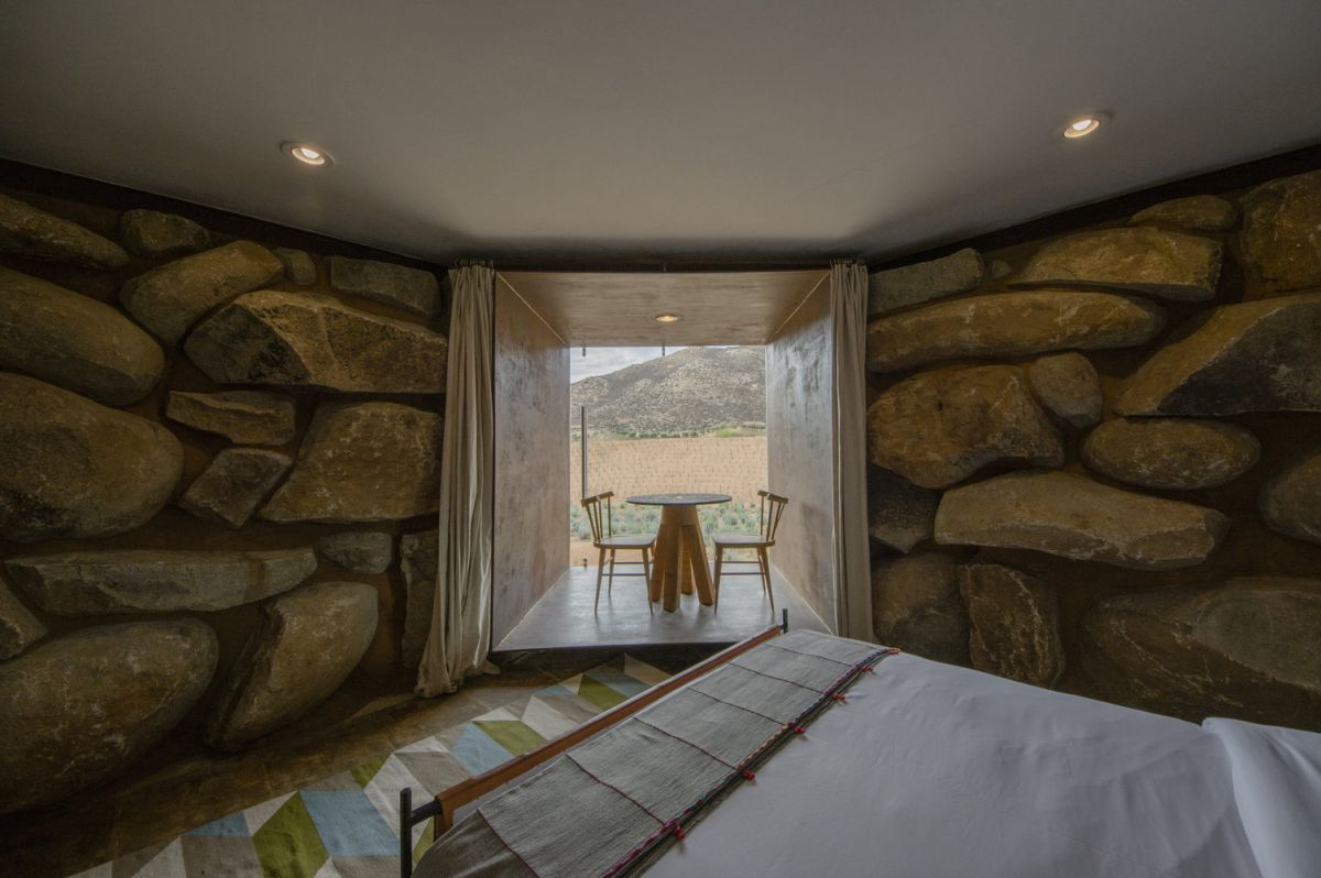 There's a small dining nook extension in the bedroom and it features a wonderful view