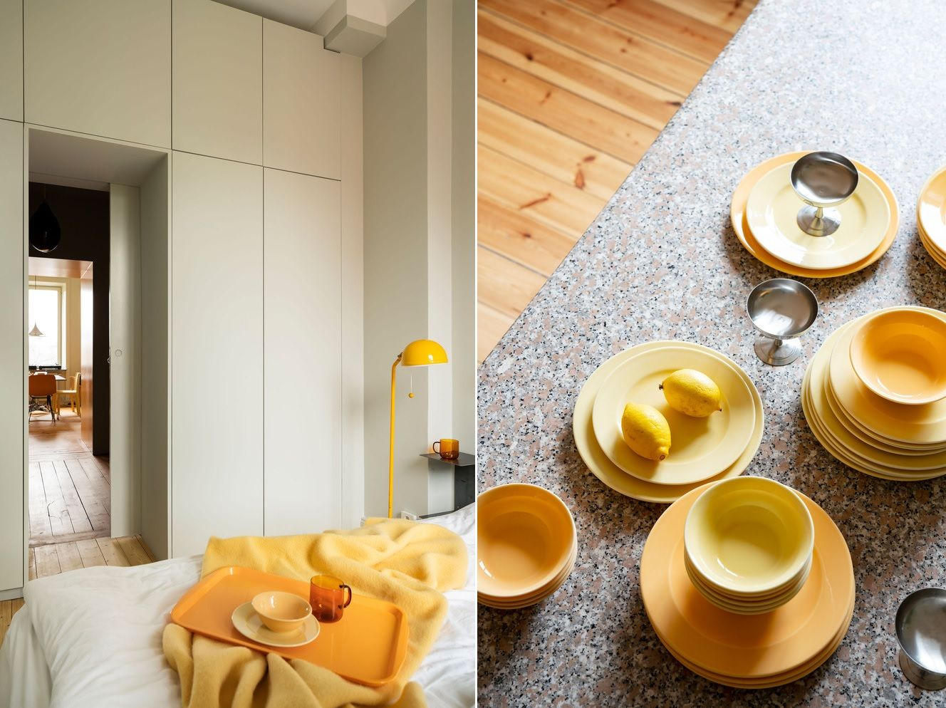 Yellow is not just the color of the furniture and wall modules. It's the main accent color for the whole apartment