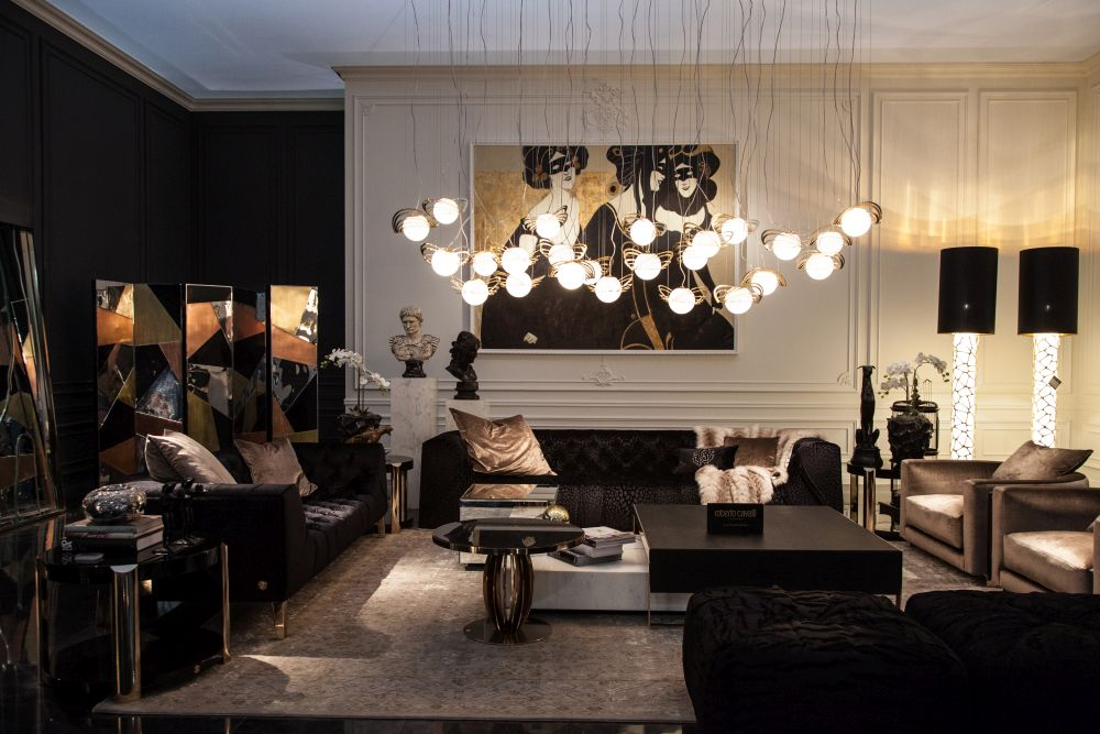 Using chandeliers in unexpected locations is eye-catching.