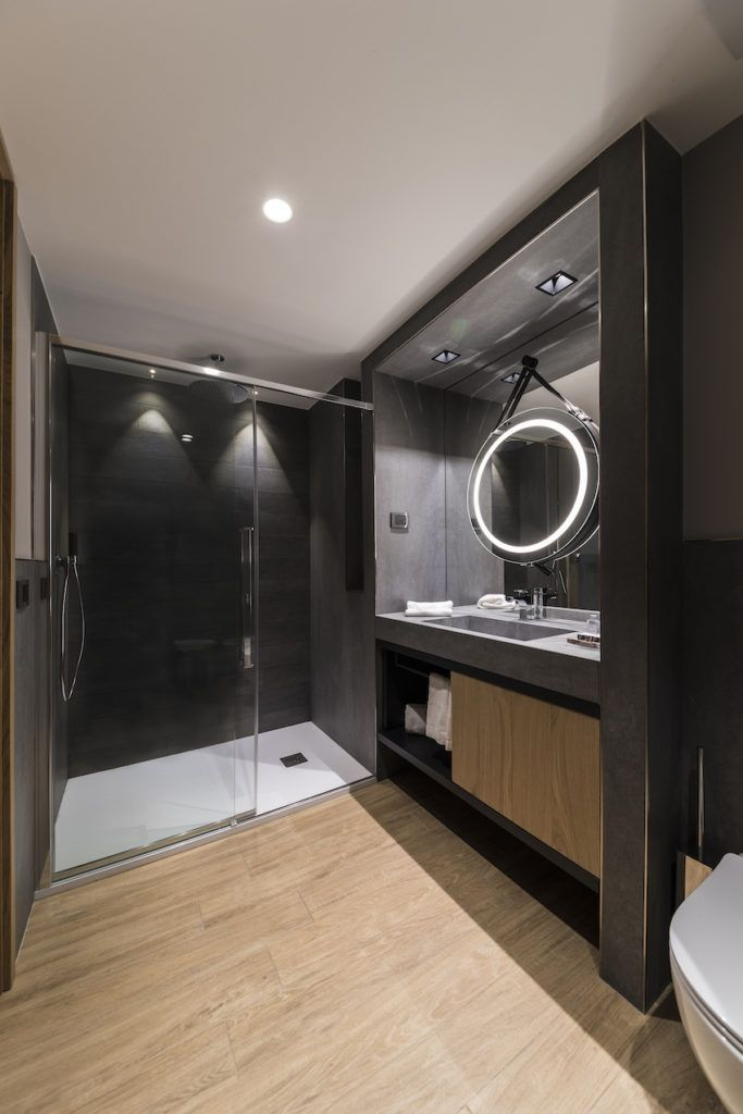 The shower is more stylish and spacious than most.