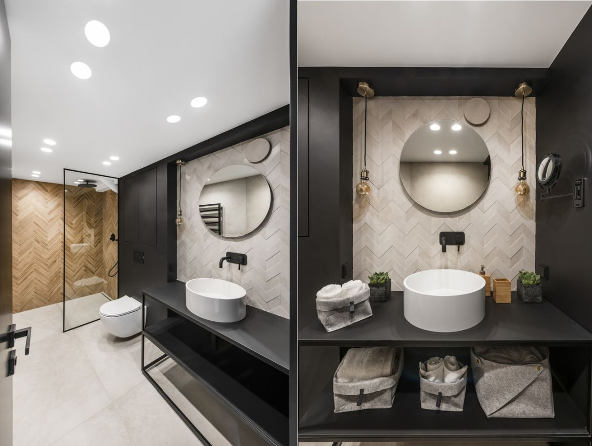 Black is an important color accent, one which adds depth to the decor and highlights key design details