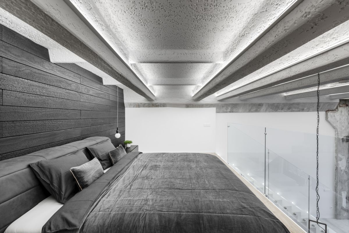 The ceiling-oriented LED lights are most enjoyable in the loft bedroom area