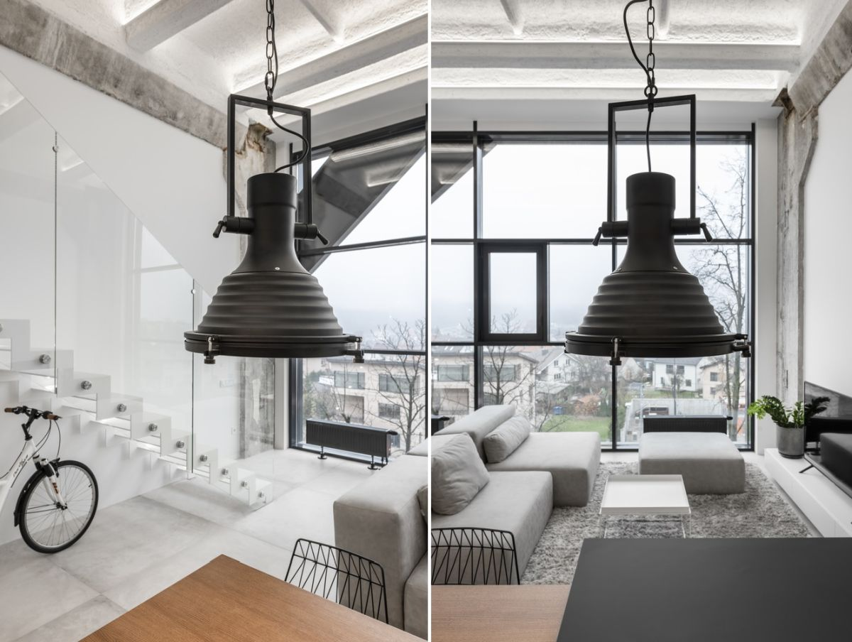 The industrial character of the loft is reflected not just in the architecture but also some of the small interior design elements