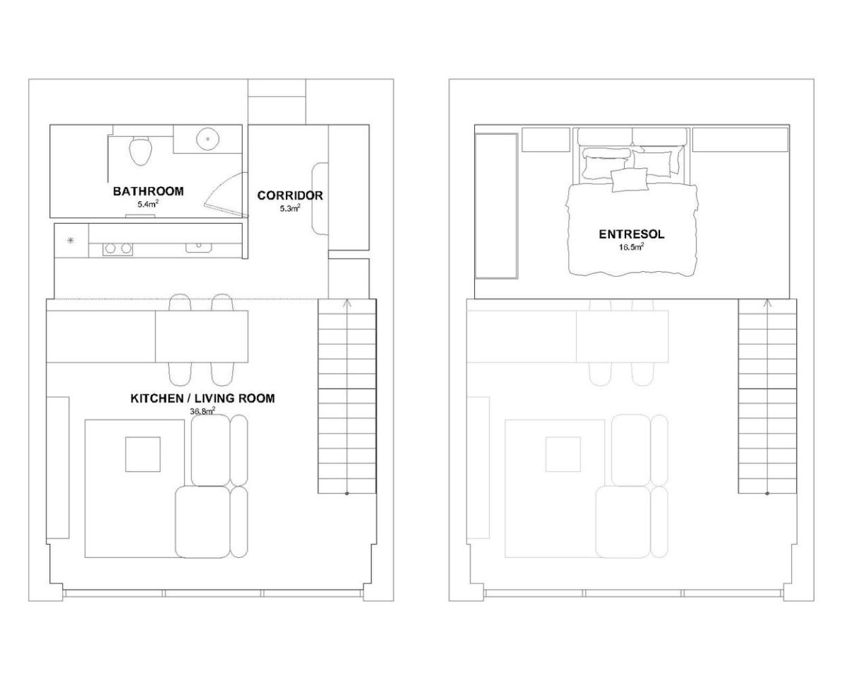 The distribution of the spaces across the floor plan is based on the ideas of flexibility and versatility