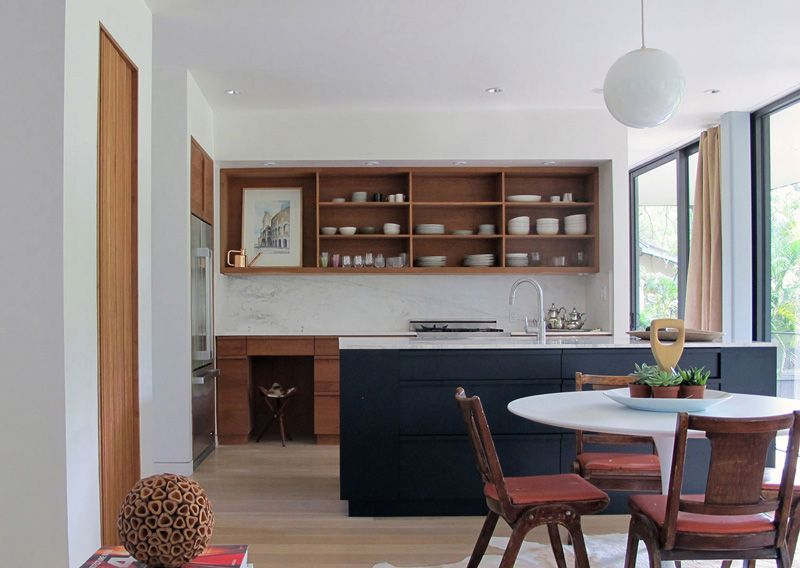 Integrate the shelves into a wall unit