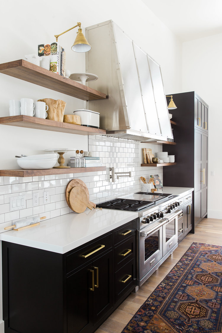 Use shelves to frame the appliances