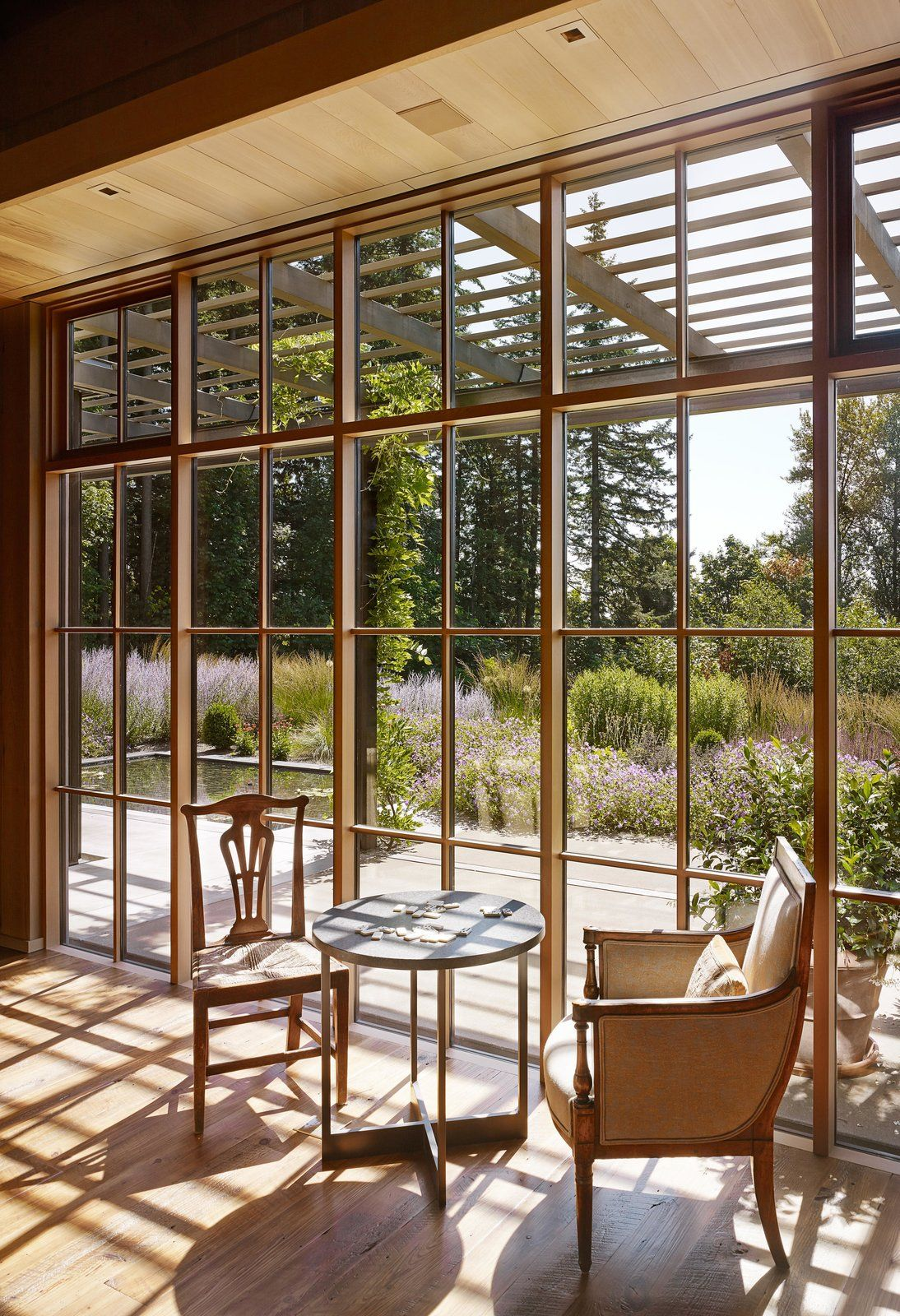 Seating areas by windows take full advantage of the views.