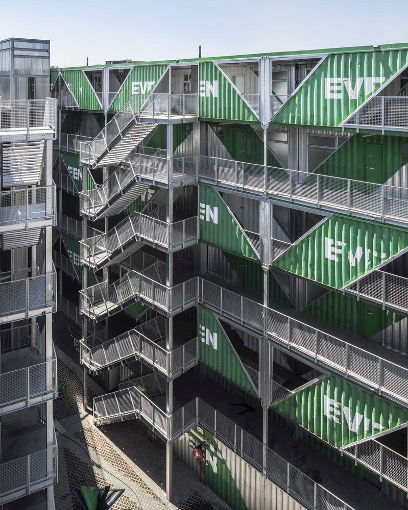 The apartment units have access to both private and communal balconies and spaces