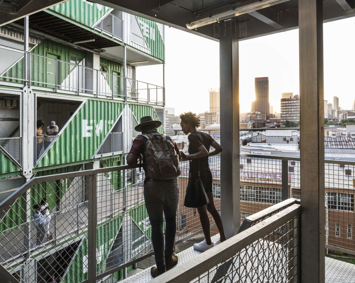 The apartment units are organized into two big sections and you can navigate between them via an open-air corridor