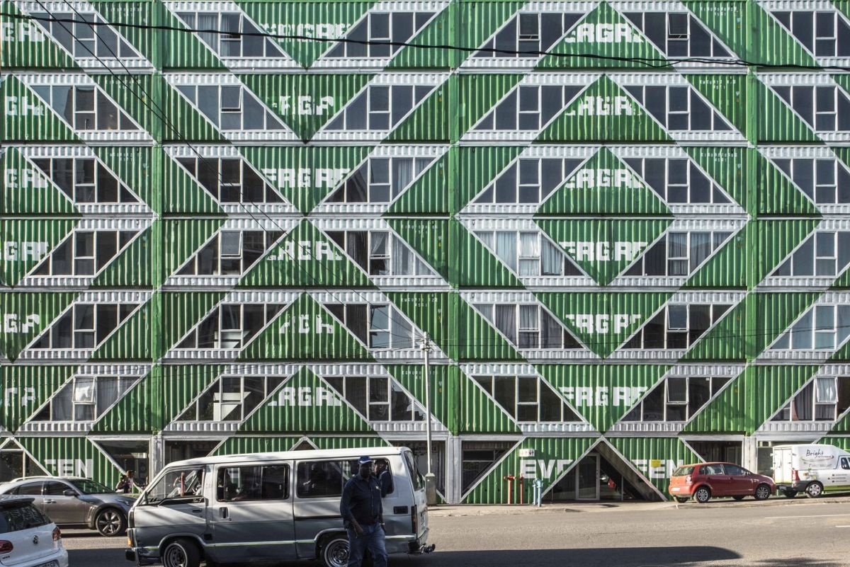 The symmetrical pattern across the facade is eye-catching and gives the building an edgy and unconventional look