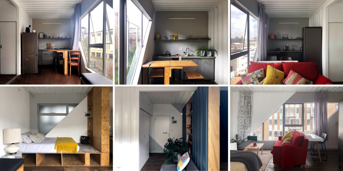 The apartment units have open plan layouts with large, angular windows, reclaimed wood floors and crisp white walls