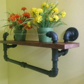 Towel Rack With Oak Shelf