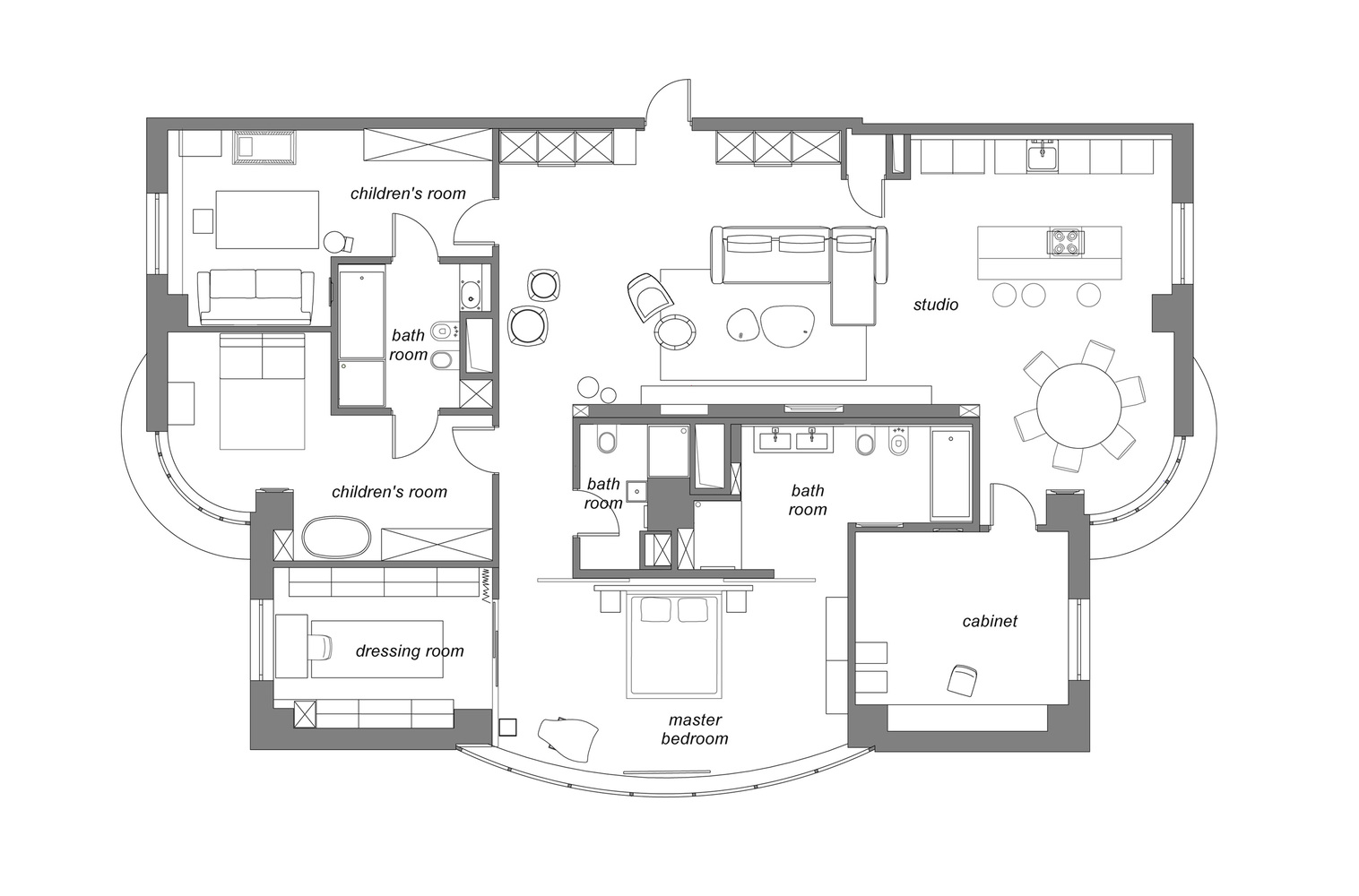 The floor plan reveals a very good and practical distribution of the spaces based on function