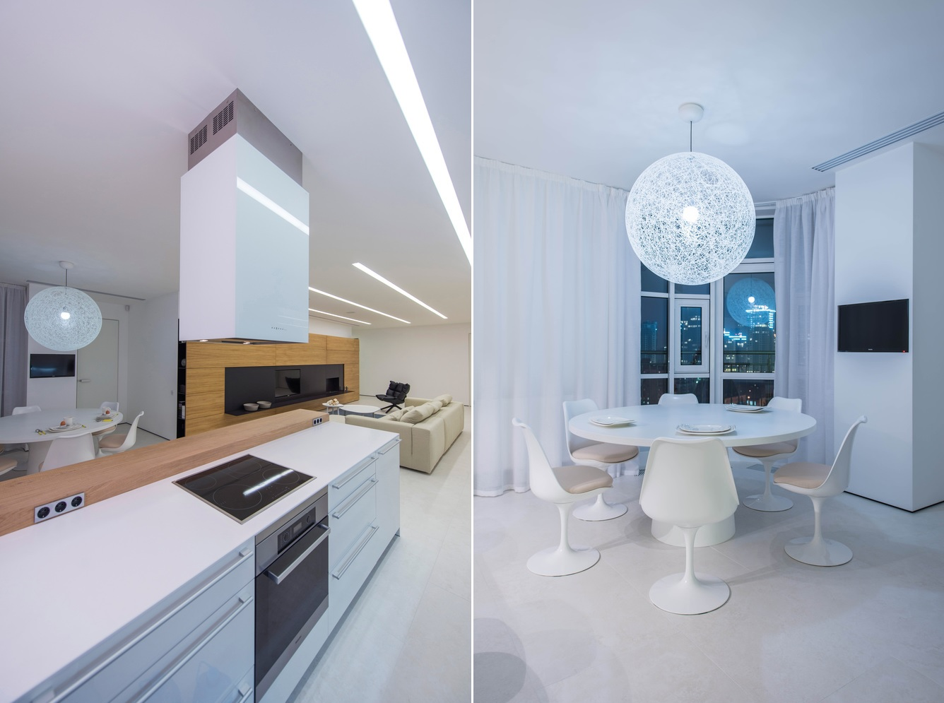 The kitchen and dining space occupy one section of the social area and their designs are