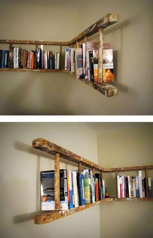 A Simple Ladder Bookshelf on a Budget