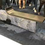 Mixed materials are an unexpected choice for a bench.
