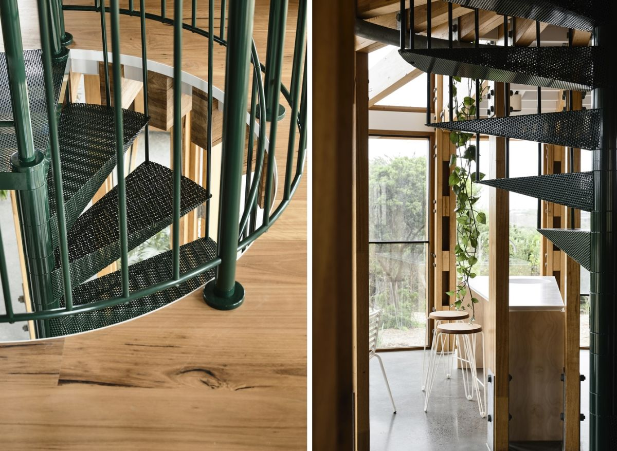 The central spiral staircase is space-efficient as well as graceful and in tone with the overall geometry of the house