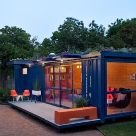 Blue shipping container home