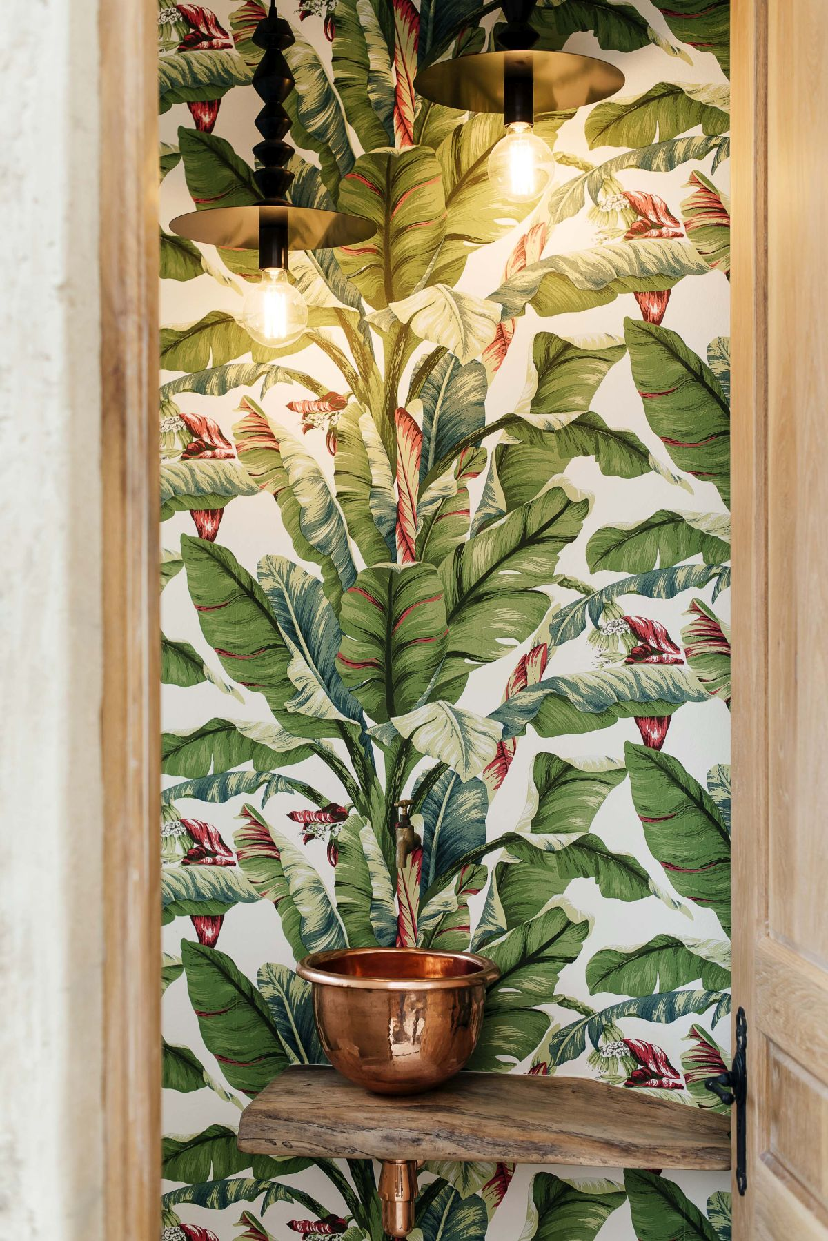 A variety of indoor plants complemented by themed artwork give the house a fresh, nature-infused vibe