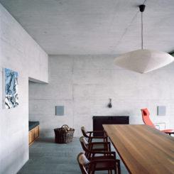 Exposed concrete walls
