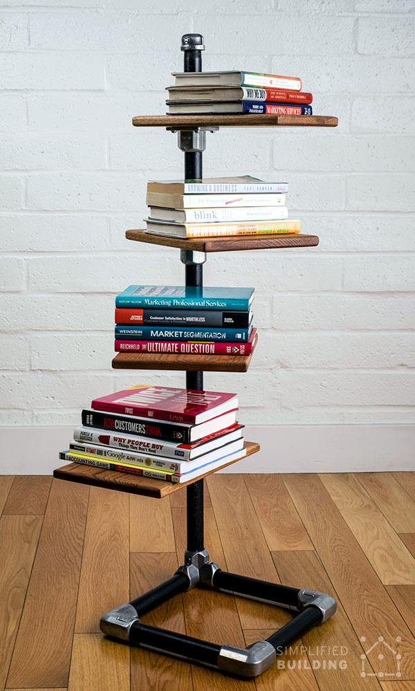 Free Standing DIY Gator Tube Bookshelf