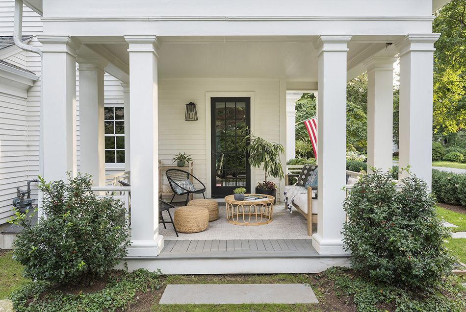 An old fashioned porch can be a homey patio.