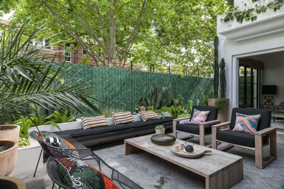 An urban patio has relaxed style.