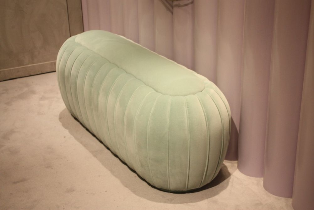 Tufted pieces in pastel colors look like confections.