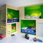 Green bunk beds buil in design
