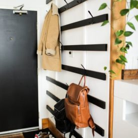 Horizontal wall coat rack