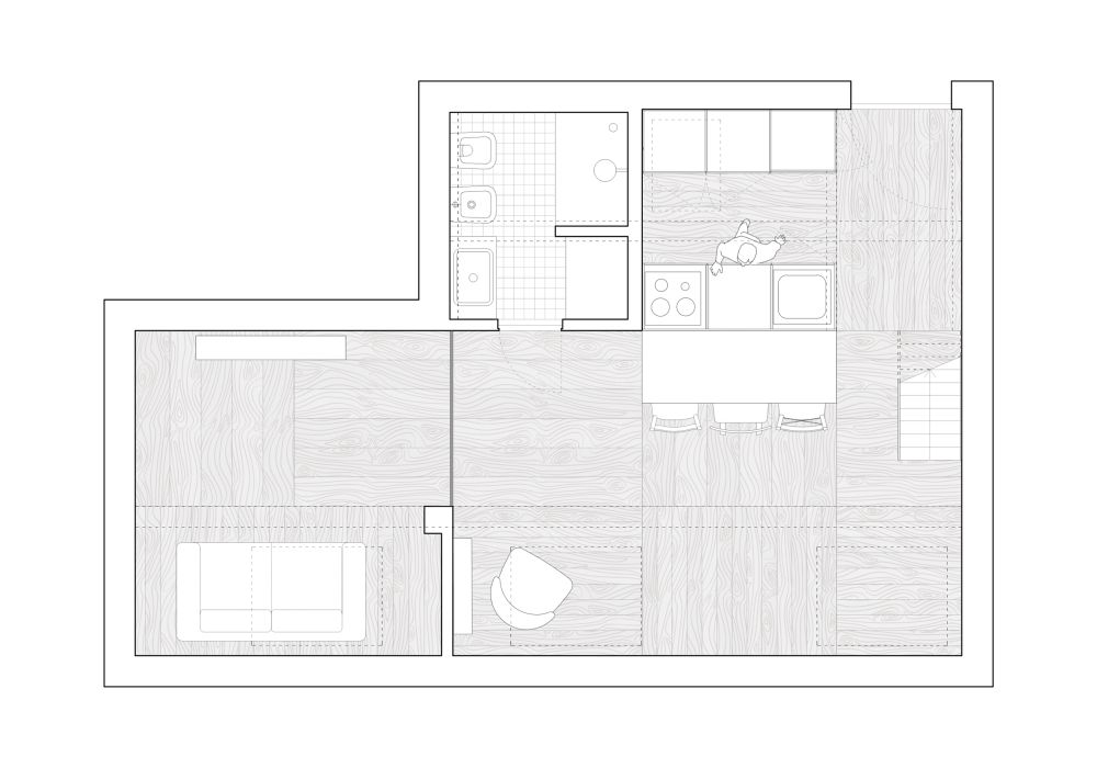 The layout and overall distribution of the space, furniture and everything else are influenced by the shape of the roof
