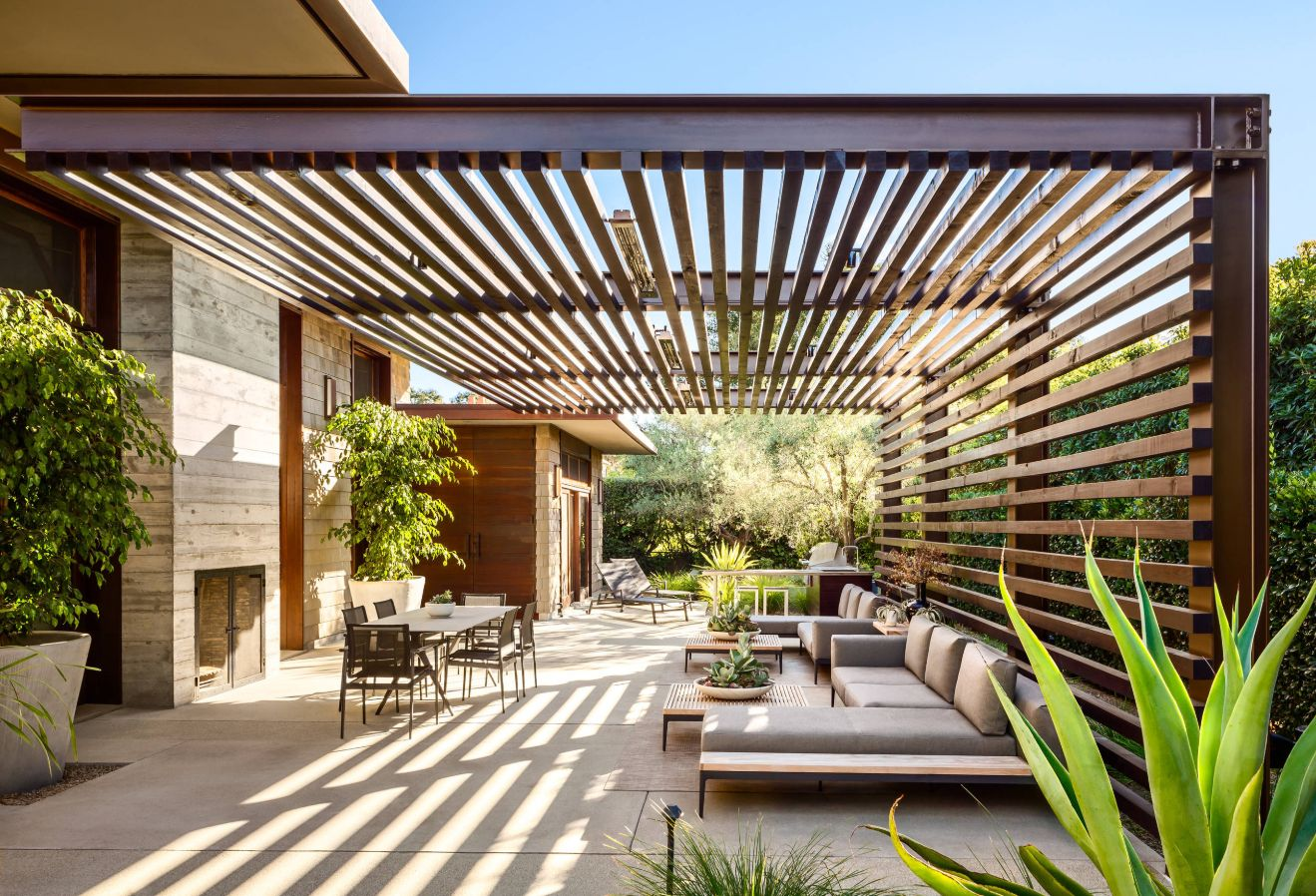 This contemporary patio has plenty of room for entertaining.