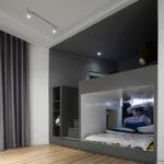 Minimal design grey build in bunk beds