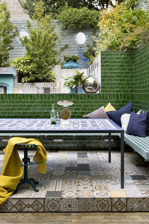 Multiple types of tile create an easy-care patio.