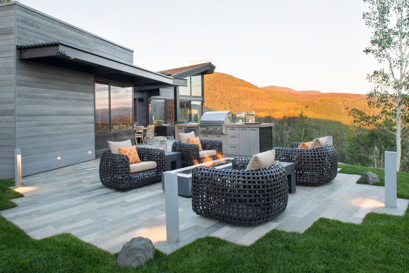 The sleek patio looks like an extension of the house.