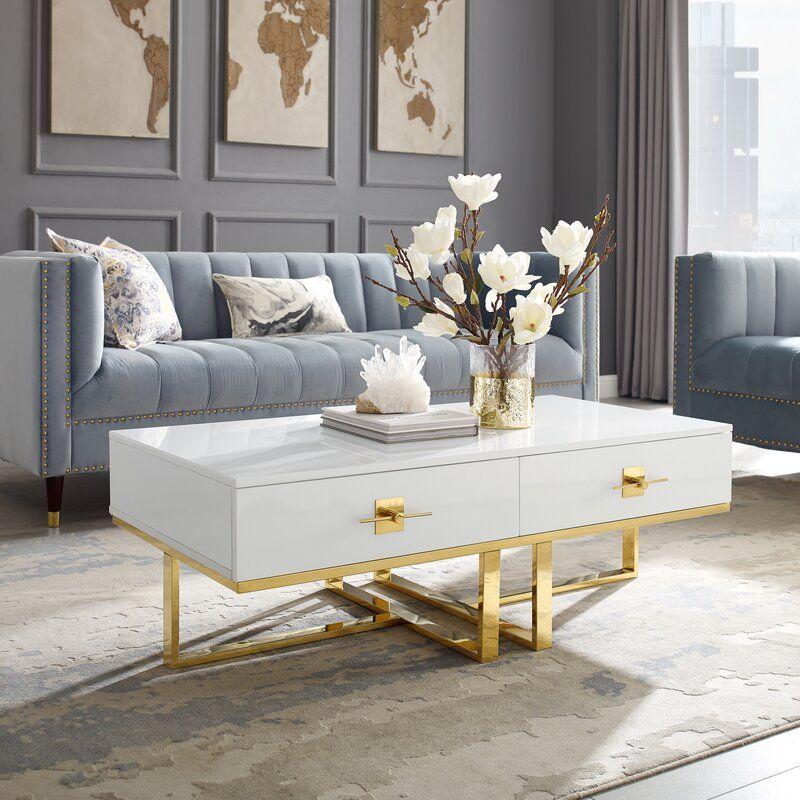 Plumeria Cross Leg Coffee Table with Storage