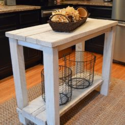 Rustic reclaimed wood small kitchen island