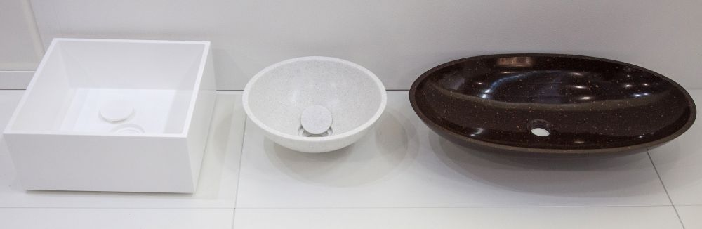 Sink and bowls in different shapes