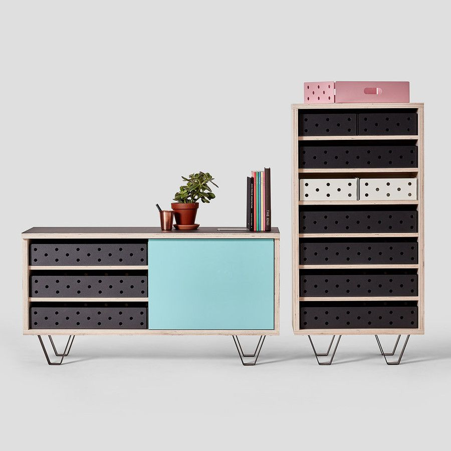 Playful chests of drawers with perforated drawers