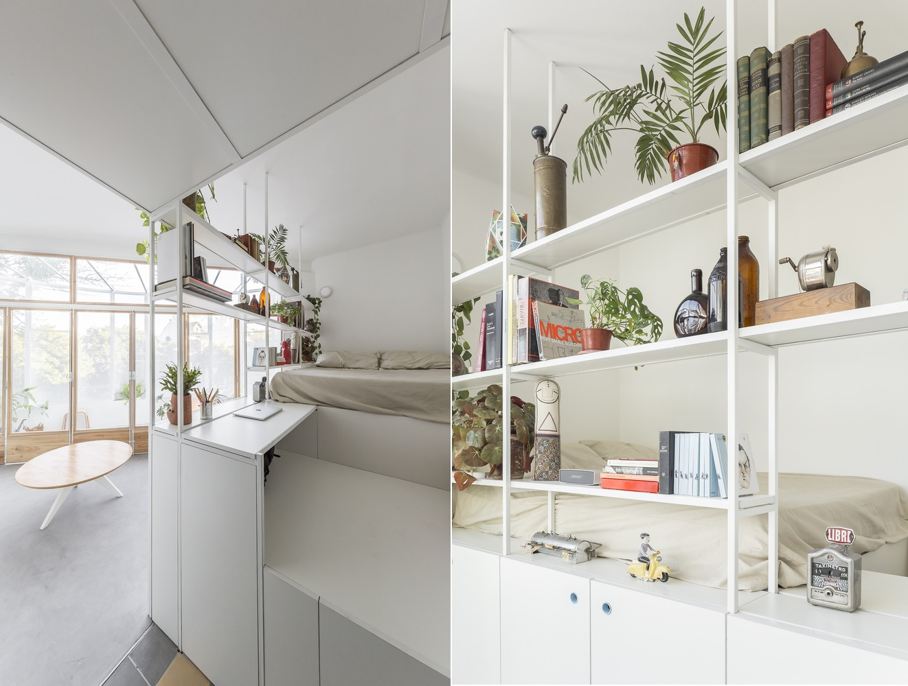 The open shelves act as space dividers and provide storage without closing off the two adjacent areas